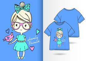 Reizender Freund-Hand gezeichneter Mädchen-T-Shirt Entwurf