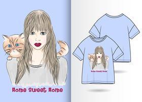 Süßes Hauptmädchen-Katzen-Haupthand gezeichneter T-Shirt Entwurf