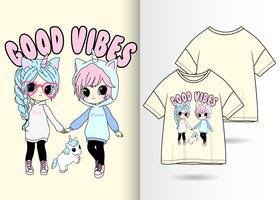 Handritad söt flicka med t-shirtdesign