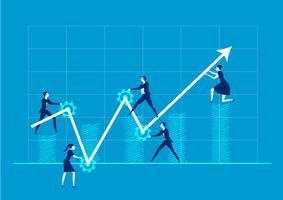 Geschäftsteam, welches die Richtung des Pfeiles auf blauem Hintergrund ändert vektor