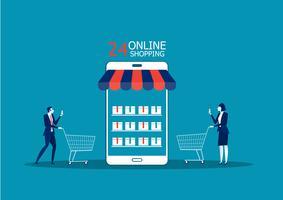 Affärsfolk, man och kvinna shoppar onlinebutik med smartphone