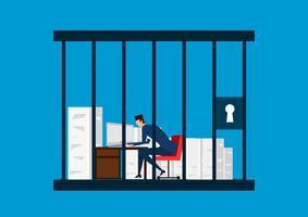 affärsman som arbetar i fängelset