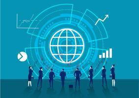 Viele Unternehmen betrachten Diagrammpfeile vektor