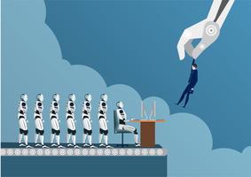 Roboterrekrutierer mit der industriellen Greifer, die Mann wählt und menschlichen Rekruten vorwählt