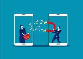 Affärsman som rymmer en stor magnet och lockar pengar från mobil shoppar