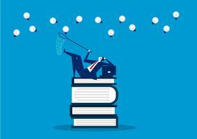 Mann sitzen auf Büchern mit Falle für Kreativität vektor