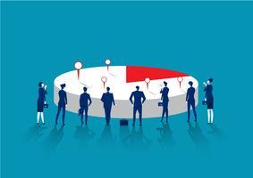 Affärsman som står och ser cirkeldiagram som symbol för affärsanalys