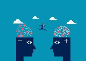 Geschäftsmann, der zwischen negativen Kopf zum positiven denkenden Kopf springt