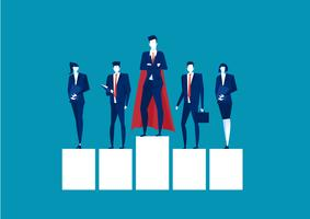Superhjälteaffärsman som står på en plattform för ledarskap på blå bakgrund