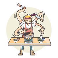 Man med flera armar som lagar mat multitaskingillustration