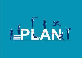 Koncept med affärsmän som gör olika aktiviteter runt ordet PLAN vektor