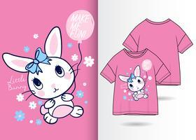 liten kanin handritad t-shirtdesign vektor