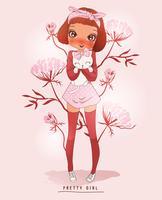 Handritad söt flicka som bär långa strumpor och håller katt med blommabakgrund