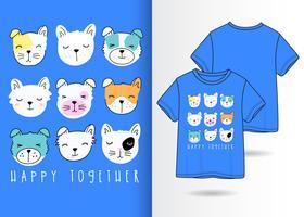 Glücklicher zusammen Hundegesetzter Hand gezeichneter T-Shirt Entwurf