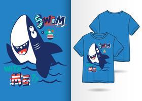 Haifisch-Charakter-Hand gezeichneter T-Shirt Entwurf vektor