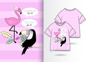 Toucan Flamingo handritad t-shirtdesign vektor