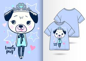 Reizende Mops-Hand gezeichneter T-Shirt Entwurf