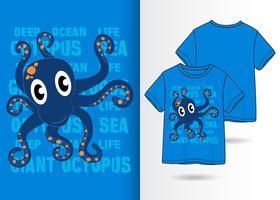 Handritad gullig bläckfisk med t-shirtdesign