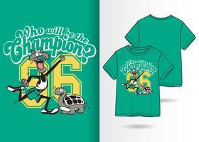 Champion Hand gezeichnete T-Shirt-Design