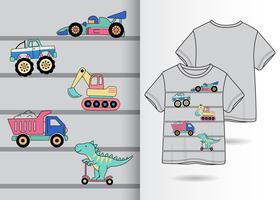 Jungen Spielzeug Hand gezeichnete T-Shirt-Design vektor