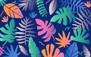 Tropische Dschungelneonblätter und -blumen