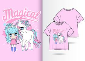 Magisk Unicorn handritad t-shirtdesign