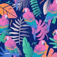 papegojor i djungelbakgrunden vektor