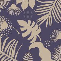 Tropische Dschungelblätter und Blumenhintergrund vektor