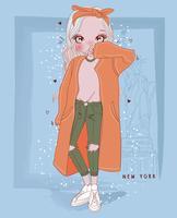 Handritad gullig tjej som bär lång jacka i New York