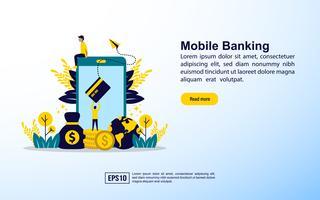 Mobil banks målsida vektor