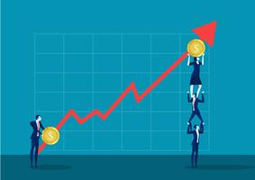 Team von den Geschäftsleuten, die auf den Schultern halten Finanzpfeil stehen vektor
