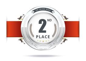 Silvermedalj för andra plats vektor