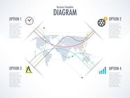 Geschäftsdiagramm mit Welthintergrund für Kommunikationsleitung