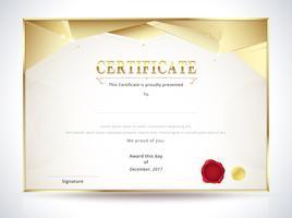 Goldene Diplom Zertifikatvorlage vektor