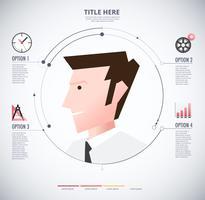 Infographik des Mannes mit Symbolen