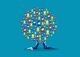 Geschäftsleute, die Rücken an Rücken im weltweiten Netzwerk sozial sind.
