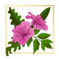 Rosa Blumenblumen-Vektor-Blatt-Natur-Illustrations-Elemente vektor