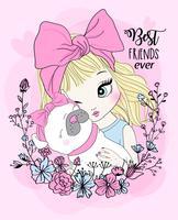 Handritad söt flicka med mops bästa vän och blommakrans
