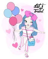 Handritad gullig flicka som rymmer ballonger med katten i handväska