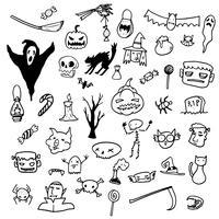 Halloween Doodle Draw Horror Grafiska element vektor