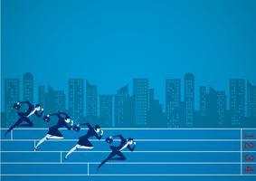 Geschäftsmänner, die am Geschäftswettbewerb für Ziel laufen