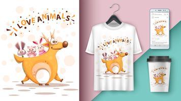 Tecknad rådjur, kanin, kattmodell för din idé vektor