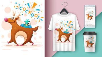 Tecknad hjort med fågel - modell för din idé