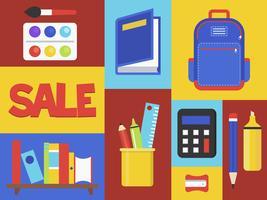 Tillbaka till skolan försäljning, skolan levererar vektor