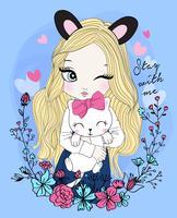 Handritad gullig flicka som bär öron med katt och blommig krans