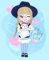 Handritad söt flicka som bär stora exponeringsglas med katten