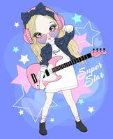 Handritad söt flicka som bär hörlurar som spelar elektrisk gitarr