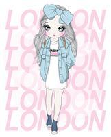 Handritad söt flicka som bär överdimensionerad rosett och t-shirt med London typografi