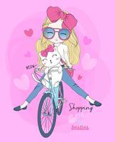 Hand gezeichnetes nettes Mädchen, das gehendes Einkaufen des Fahrrades mit Katze fährt vektor