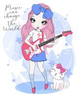 Handritad gullig flicka som spelar elektrisk gitarr med katten